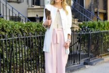 06 blush shoes, pink culottes, a neutral topa dn a long creamy blazer for a layered look