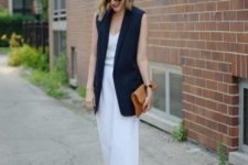 06 white wide pants, a white sleeveless top, a navy long vest, heeled sandals with a brown clutch