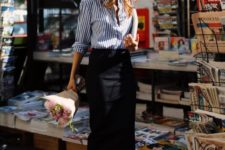 07 a blue and white striped shirt, a black pencil midi skirt, black heels for a simple work look