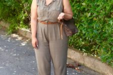 07 a casual safari-styled grey jumpsuit, brown heels and a brown bag for a comfy summer look