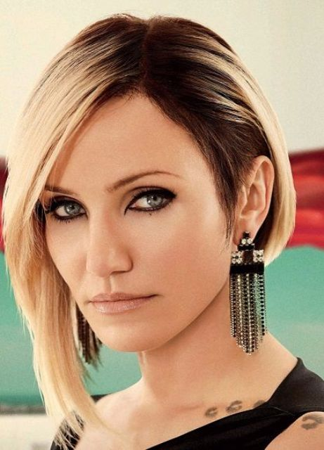 Cameron Diaz rocking a gorgeous asymmetrical bob for a strong wow factor in her look