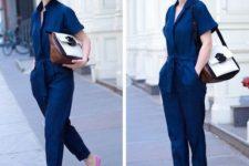 navy jumpsuit with heels