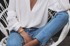 spring look with a white blouse