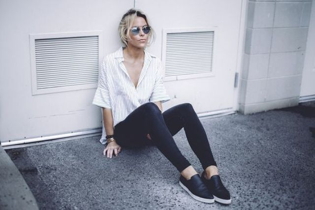 black skinnies, a striped button down with short sleeves and black slipons for a comfy look