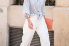 08 cropped wide leg pants, a striped blue shirt, coral shoes and a coral clutch for a colorful touch