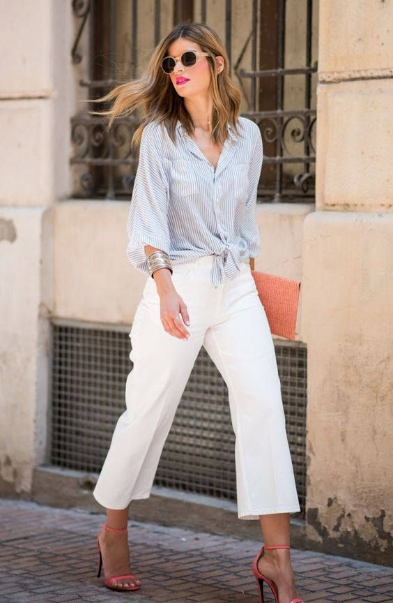 cropped wide leg pants, a striped blue shirt, coral shoes and a coral clutch for a colorful touch