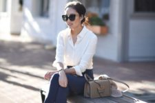 08 navy pants, a white button down, nude shoes and a cute matching bag
