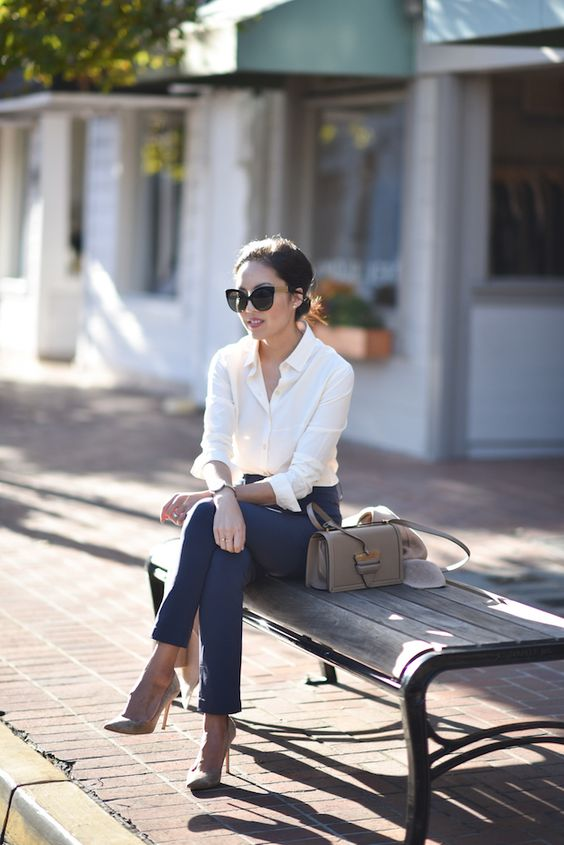 navy pants, a white button down, nude shoes and a cute matching bag