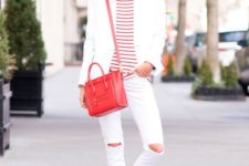 08 white ripped skinnies, white sneakers, a striped tee, a white blazer and a red bag