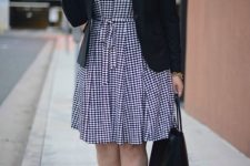 09 a gingham knee dress, a black jacket, black heels and a bag are a stylish combo for work