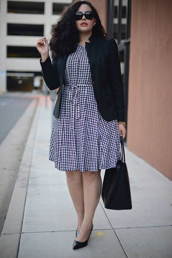 a gingham knee dress, a black jacket, black heels and a bag are a stylish combo for work