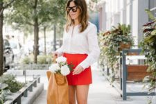 09 a white button down, white pumps, hot red shorts for a pretty summer look