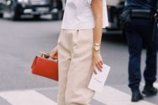 09 a white tee, neutral culottes, nude shoes and a bold bag for a smart casual work outfit