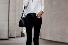 09 cropped pants, a pyjama white and black shirt, black heels and a black bag