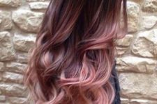 09 ombre hair from dark to burgundy and rose with layers, cascade and waves