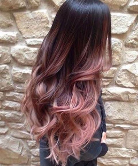 ombre hair from dark to burgundy and rose with layers, cascade and waves