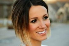 09 spruce up your asymmetrical short bob with ombre from dark chestnut to blonde