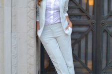 10 a dove grey pantsuit, a white shirt, printed shoes and a necklace for a business look