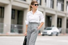10 a white button down, checked high waisted wide pants, black shoe sand a bag