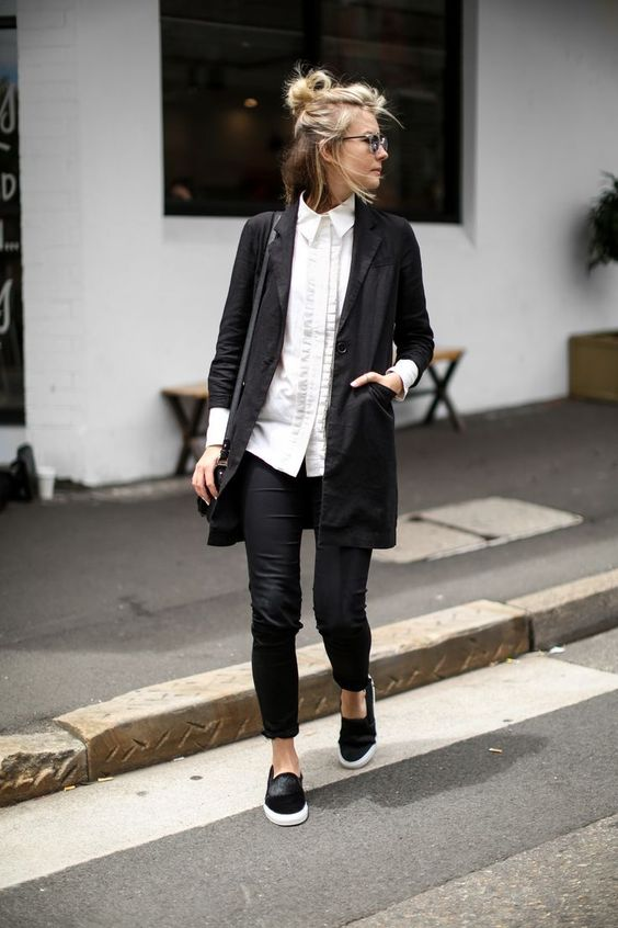 black skinnies, a white button down, a black long blazer, black slipons for a monochrome look