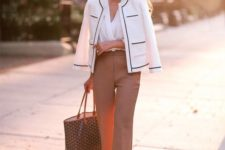 10 camel pants, a white shirt, a black and white blazer for a classic feel