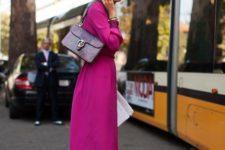 11 a deep purple shirtdress, a bold bag with a snake print, tan shoes
