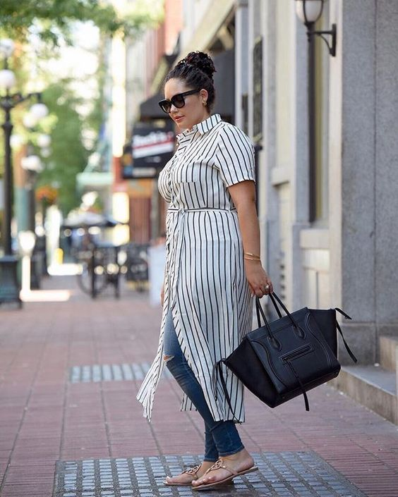 a striped shirtdress, blue ripped skinnies, flats and a black bag