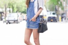11 a white button down, a denim overall, white platform slipons and a blakc bag for a summer look