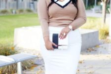 11 a white dress with a pencil skirt, white ankle strap shoes, a blush cardigan and a color block clutch