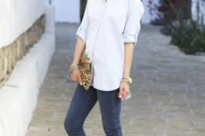 11 cropped grey skinnies, a comfy white button down, black and white heels and a bold clutch