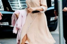 12 a blush polka dot shirtdress, grey shoes and a black belt for a retro feel