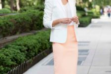 12 a peachy pink skirt, a white top and jacket, nude shoes for a chic summer-inspired look