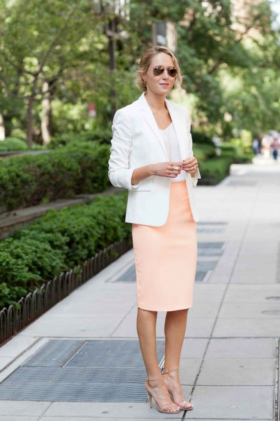a peachy pink skirt, a white top and jacket, nude shoes for a chic summer-inspired look