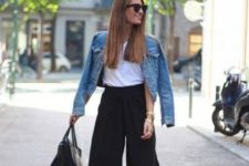 12 a simple office look with black culottes, a white top, black shoes and a denim jacket for a casual feel