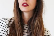 12 long hair with a long French fringe looks chic and always on top