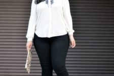 13 black jeans, a white shirt with a touch of black lace and black heels for a strict dress code look