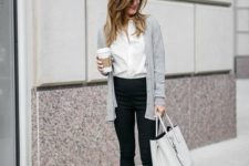 13 black pants, a white button down, a grey cardigan, burgundy shoes and a grey bag