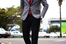 13 black pants, a white shirt, a red tie, a grey jacket with black lapels and cognac shoes for a touch of vintage
