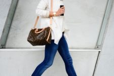13 blue skinnies, a white shirt, blush studded flats and a comfy bag can be worn to work