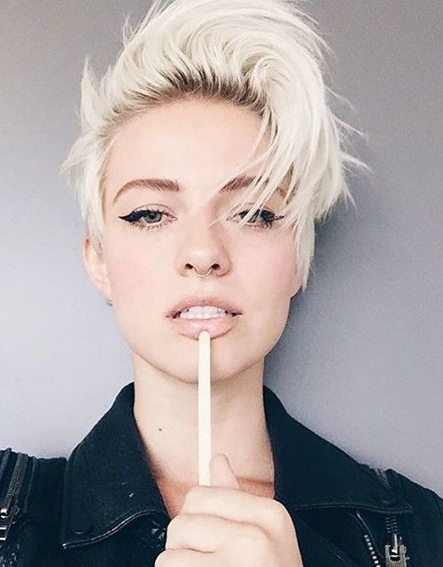 ice blonde pixie hairstyle