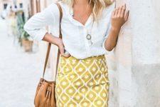 14 a white button down, a yellow printed pencil skirt and  atan bag