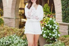 14 a white romper with lace sleeves and nude shoes for a sexy look