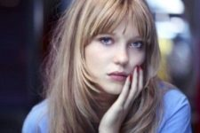 14 long cascading hair with a long French fringe for those who want a touch of romance