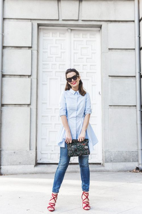 a blue shirtdress, blue cropped skinnies, red strappy heels and a bold clutch for a creative job