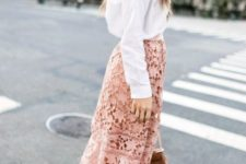 15 a white button down, a blush lace midi skirt, white sneakers and a brown bag