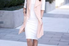 15 a white knee dress with short sleeves, a pink long vest and grey mules for a girlish feel