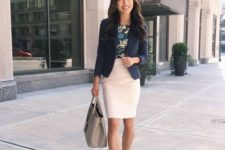 15 a white pencil skirt, a floral top, a navy blazer, grey shoes and a bag