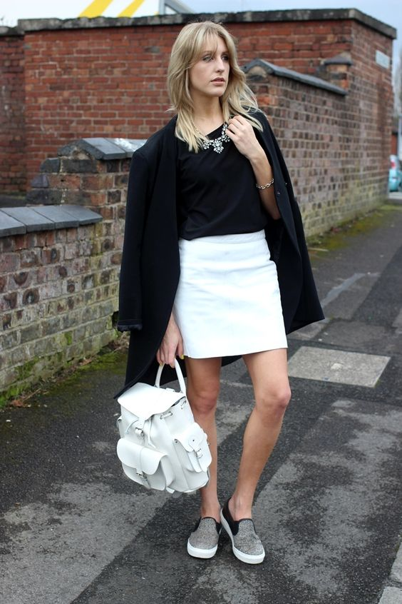 b&w spring work outfit with a white backpack