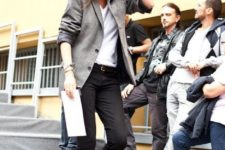 15 black skinnies, a white tee, a grey blazer and black kitten heels for a casual work look