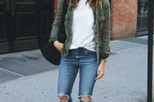 15 ripped blue skinnies, a white tee, an olive green shirt, white sneakers for a casual look